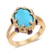 Arizona Sleeping Beauty Turquoise, Orissa Rhodolite Garnet, Cambodian Zircon 14K YG Over Sterling Silver Split Ring (Size 7.0) TGW 6.79 cts.