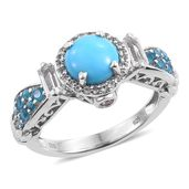 Arizona Sleeping Beauty Turquoise, Multi Gemstone Platinum Over Sterling Silver Ring (Size 8.0) TGW 3.25 cts.