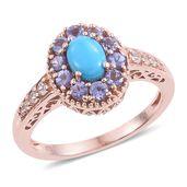 Arizona Sleeping Beauty Turquoise, Tanzanite, Cambodian Zircon 14K RG Over Sterling Silver Ring (Size 10.0) TGW 1.85 cts.