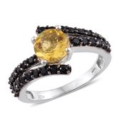 Canary Fluorite, Thai Black Spinel Black Rhodium & Platinum Over Sterling Silver Bypass Ring (Size 9.0) TGW 3.75 cts.