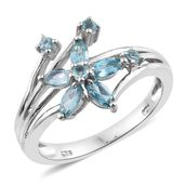 Madagascar Paraiba Apatite Platinum Over Sterling Silver Floral Ring (Size 5.0) TGW 1.09 cts.