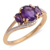 Amethyst 14K YG Over Sterling Silver Trilogy Split Ring (Size 5.0) TGW 1.51 cts.