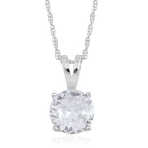 Austrian Crystal Sterling Silver Solitaire Pendant With Chain
