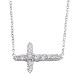 Simulated Diamond Sterling Silver Cross Necklace (16 in) TGW 0.72 cts.