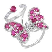Niassa Ruby, White Zircon Sterling Silver Butterfly Ring (Size 8.0) TGW 6.78 cts.