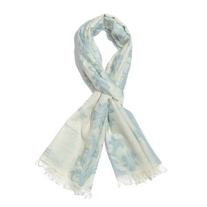 Arctic Blue 100% Cotton Jacquard Floral Scroll Pattern Scarf (76x30 in)