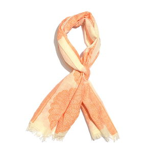 Tangerine 100% Cotton Jacquard Floral Pattern Scarf (76x30 in)