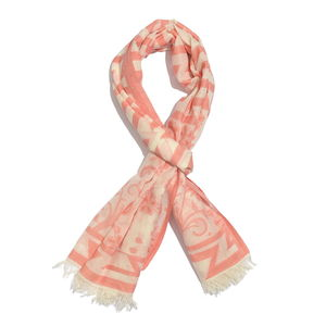 Cream and Coral 100% Cotton Floral Geometric Jacquard Scarf (74x30 in)