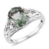 Montezuma Prasiolite Platinum Over Sterling Silver Ring (Size 11.0) TGW 4.45 cts.