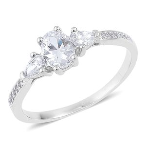 Simulated Diamond Sterling Silver Ring (Size 7.0) TGW 1.55 cts.