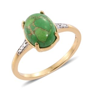 Mojave Green Turquoise 14K YG Over Sterling Silver Solitaire Ring (Size 7.0) TGW 3.75 cts.