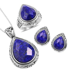 Lapis Lazuli Black Oxidized Stainless Steel Earrings, Ring (Size 9) and Pendant With Chain (20 in) TGW 44.40 cts.
