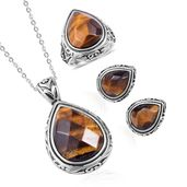 South African Tigers Eye Black Oxidized Stainless Steel Earrings, Ring (Size 7) and Pendant With Chain (20 in) TGW 38.00 cts.