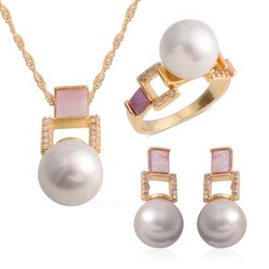 White Shell Pearl, White Shell, Simulated White Diamond Goldtone Earrings, Ring (Size 7.5) and Pendant With Chain (20 in) TGW 21.40 cts.