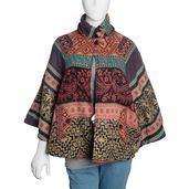 Multi Color 100% Acrylic Santa Fe Pattern Warm Knit Open Cape with Pockets and High Collar (One Size)
