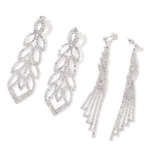 White Austrian Crystal Silvertone Set of 2 Leaf and Chandelier Earrings TGW 18.00 cts.