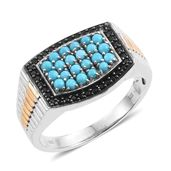 Arizona Sleeping Beauty Turquoise, Thai Black Spinel 14K YG and Platinum Over Sterling Silver Men's Ring (Size 10.0) TGW 1.53 cts.