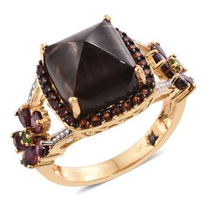 GP Brazilian Smoky Quartz, Multi Gemstone 14K YG Over Sterling Silver Split Ring (Size 6.0) TGW 11.79 cts.