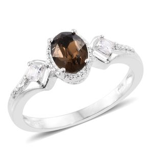 Simulated Diamond Sterling Silver Ring (Size 11.0) Made with SWAROVSKI Smoked Topaz Crystal TGW 1.44 cts.