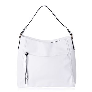 White Faux Leather Hobo Bag with Standing Studs (15x5x13 in)