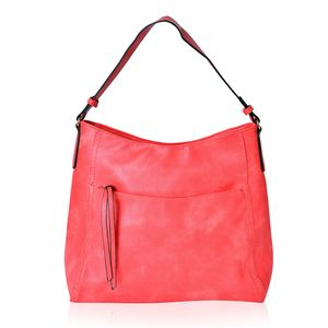 Coral Red Faux Leather Hobo Bag with Standing Studs (15x5x13 in)