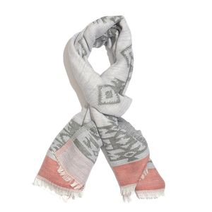 Gray and Red 50% Cotton & 50% Acrylic Aztec Pattern Scarf (76x30 in)