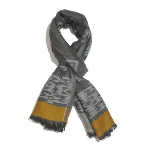 Graphite and Mustard 50% Cotton & 50% Aztec Pattern Scarf (76x30 in)