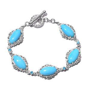 Arizona Sleeping Beauty Turquoise, Malgache Neon Apatite Platinum Over Sterling Silver Bracelet (6.50 In) TGW 17.18 cts.