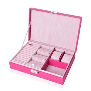 Fushia Leather 2 Layer Jewelry Box with 3D Japan Fujiyama Painting (11x7.5x2.8 in)