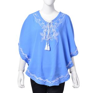 Light Blue 100% Viscose Embroidered Poncho with and Tassels (One Size)