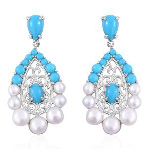 Freshwater Pearl, Arizona Sleeping Beauty Turquoise Sterling Silver Earrings TGW 3.16 cts.