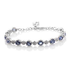 Ceylon Blue Sapphire, Cambodian Zircon Platinum Over Sterling Silver Bracelet (6.00-7.50In) TGW 6.76 cts.