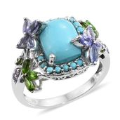 Arizona Sleeping Beauty Turquoise, Tanzanite, Russian Diopside Platinum Over Sterling Silver Butterfly Ring (Size 10.0) TGW 6.04 cts.