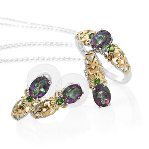 Northern Lights Mystic Topaz, Russian Diopside 14K YG and Platinum Over Sterling Silver Earrings, Ring (Size 11) and Pendant With Chain (20 in) TGW 5.96 cts.
