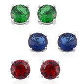 Set of 3 Simulated Red, Green and Blue Diamond Sterling Silver Stud Earrings TGW 6.60 cts.