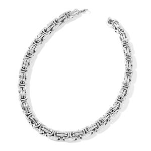 Stainless Steel Byzantine Chain Necklace (24 in)