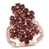 Mozambique Garnet 14K RG Over Sterling Silver Cluster Ring (Size 7.0) TGW 7.75 cts.