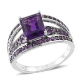 Amethyst Sterling Silver Bridge Ring (Size 6.0) TGW 4.05 cts.