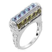 GP Multi Gemstone Platinum Over Sterling Silver Ring (Size 6.0) TGW 8.36 cts.