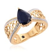 GP Kanchanaburi Blue Sapphire 14K YG Over Sterling Silver Ring (Size 8.0) TGW 3.28 cts.