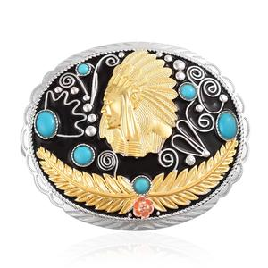 Arizona Sleeping Beauty Turquoise 14K YG Over and Sterling Silver Buckle TGW 2.18 cts.