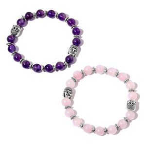 Set of 2 Galilea Rose Quartz, Amethyst Black Oxidized Silvertone Bracelets (Stretchable) TGW 162.00 cts.