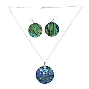 Bali Legacy Collection Abalone Shell Stainles Steel Earrings and Pendant With Chain (18 in)
