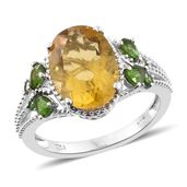 Canary Fluorite, Russian Diopside Platinum Over Sterling Silver Ring (Size 6.0) TGW 8.20 cts.