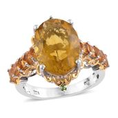 Canary Fluorite, Brazilian Citrine, Russian Diopside 14K YG and Platinum Over Sterling Silver Ring (Size 9.0) TGW 12.65 cts.