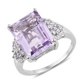 Rose De France Amethyst, Cambodian Zircon Platinum Over Sterling Silver Ring (Size 10.0) TGW 12.25 cts.