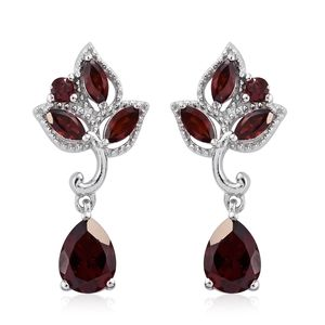 Mozambique Garnet Platinum Over Sterling Silver Leaf Drop Earrings TGW 3.71 cts.