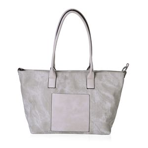 Gray Faux Leather Tote Bag (20x14x11.6 in)