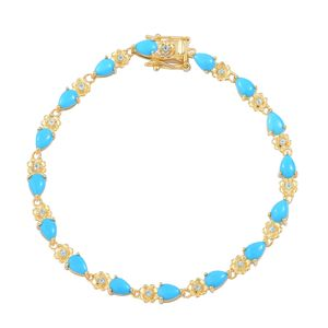 Arizona Sleeping Beauty Turquoise, Madagascar Paraiba Apatite 14K YG Over Sterling Silver Floral Bracelet (6.50 In) TGW 4.67 cts.