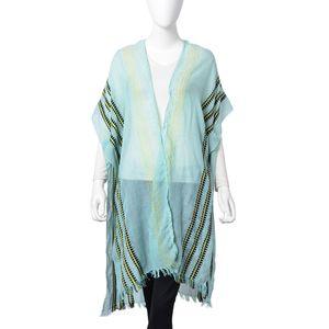 Multi Color Stripe Pattern 100% Viscose Kimono (31.5x39.37 in)